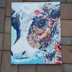 Floral Cow Oil Canvas nwot